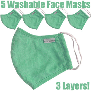 NanoSilver Face Masks - Washable Reusable 3-Ply Antibacterial Knitted Fabric - Rewashable up to 31X Pack of 5 Masks - Mint Green (21952-Mint)