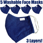 NanoSilver Face Masks - Washable Reusable 3-Ply Antibacterial Knitted Fabric - Rewashable up to 31X Pack of 5 Masks - Navy with White Dots (21952-Navy White Dots)