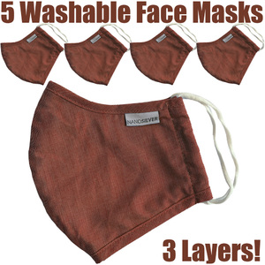 NanoSilver Face Masks - Washable Reusable 3-Ply Antibacterial Knitted Fabric - Rewashable up to 31X Pack of 5 Masks - Burnt Sienna Red (21952-Red)