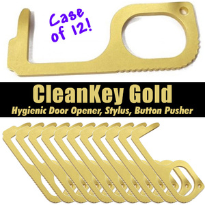 "Touchless CleanKey Gold - Hygienic Door Opener + Stylus + Button Pusher Great for Employees Retail and Gifts - 2.7"" x 1.1"" Case Box of 12 (DT7050 X 12)"