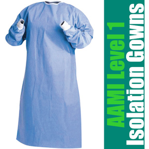 Quality AAMI Level 1 Isolation Gowns Blue Sizes L X-Large 2X-Large 10 per Bag 10 Bags per Case = 100 Disposable Gowns ()