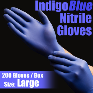IndigoBlue Nitrile Exam Gloves Powder-Free Non-Sterile Nitrile Examination Gloves Size Large 200 per Box (MG505L)