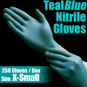 TealBlue Nitrile Exam Gloves / Powder-Free Non-Sterile Nitrile Examination Gloves / Size X-Small / 250 per Box