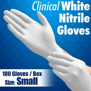 Clinical White Nitrile Exam Gloves / Powder-Free Non-Sterile Nitrile Examination Gloves / Size Small / 100 per Box