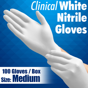 Clinical White Nitrile Exam Gloves / Powder-Free Non-Sterile Nitrile Examination Gloves / Size Medium / 100 per Box