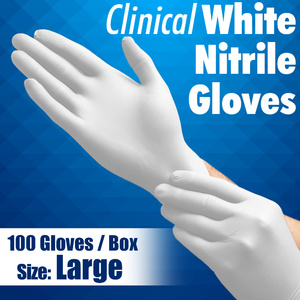 Clinical White Nitrile Exam Gloves / Powder-Free Non-Sterile Nitrile Examination Gloves / Size Large / 100 per Box