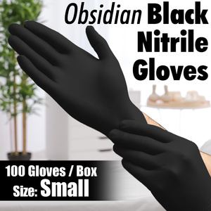 Obsidian Black Nitrile Exam Gloves / Powder-Free Non-Sterile Nitrile Examination Gloves / Size Small / 100 per Box