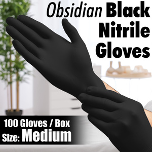 Obsidian Black Nitrile Exam Gloves / Powder-Free Non-Sterile Nitrile Examination Gloves / Size Medium / 100 per Box