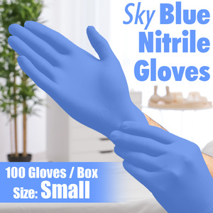 Sky Blue Nitrile Gloves / Powder-Free Non-Sterile Nitrile Gloves / Size Small / 100 per Box