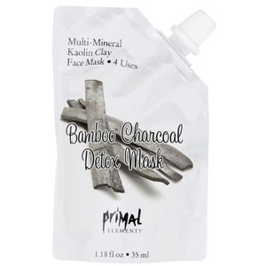 Primal Elements Face Mask - BAMBOO CHARCOAL DETOX MASK with Natural Kaolin Clay 1 Package = 4 Uses 1.18 fluid ounce - 35 mL. (M50934 - 50937)