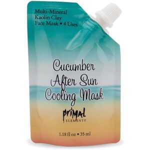 Primal Elements Face Mask - CUCUMBER AFTER SUN COOLING MASK with Natural Kaolin Clay 1 Package = 4 Uses 1.18 fluid ounce - 35 mL. (M50934 - 50964)