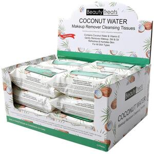 BEAUTY TREATS - Coconut Water Make-Up Remover Cloths 12 Packs of 30 (12079)