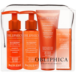 Obliphica Seaberry Fine to Medium Travel Kit - (1) Seaberry Shampoo Fine to Medium + (1) Seaberry Conditioner Fine to Medium + (1) Seaberry Mask Fine to Medium + (1) Seaberry Serum Fine to Medium (145