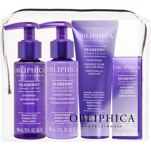 Obliphica Seaberry Thick to Coarse Travel Kit - Seaberry Shampoo Thick to Coarse + Seaberry Conditioner Thick to Coarse + Seaberry Mask Thick to Coarse + Seaberry Serum Thick to Coarse (145009)
