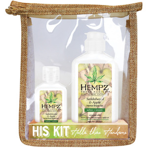 Hempz Hello There Handsome Kit - (1) Sandalwood & Apple Moisturizer (2.25 oz. + (1) Sandalwood & Apple Shave Gel (6 oz.) + (1) Hempz Bag (440370660)