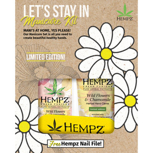 Hempz Let's Stay In Manicure Kit - (1) Fresh Fusions Wildflowers & Chamomile Hand Creme 3 oz. + (1) Fresh Fusions Wildflowers & Chamomile Moisturizer 2.25 oz. + (1) FREE! Hempz Nail File (4192