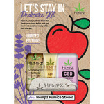 Hempz Let's Stay In Pedicure Kit - (1) Mini CBD Lavender Oil Moisturizer 2.25 oz. + (1) Sandalwood & Apple Body Scrub 1 oz. + (1) Lip Balm .44 oz. + (1) FREE! Hempz Pumice Stone (41923)