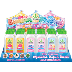 Hempz Summer Festival Herbal Body Moisturizers Display - (3) Berry Punch Snow Cone Moisturizer 8 oz. + (1) FREE Tester + (3) Strawberry Creme Cotton Candy Moisturizer 8 oz. + (1) FREE Tester + (3) Wil