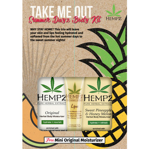Hempz Take Me Out Summer Dayz Body Kit - (1) Mini Sweet Pineapple & Honey Melon Moisturizer 2.25 oz. + (1) Herbal Lip Balm .44 oz. +(1) FREE! Mini Original Moisturizer 2.25 oz. (41921)