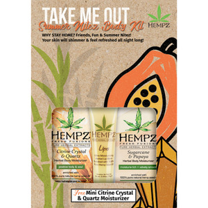 Hempz Take Me Out Summer Nitez Body Kit - Mini Sugarcane & Papaya Moisturizer + Herbal Lip Balm + Mini Citrine Crystal & Quartz Moisturizer (41920)