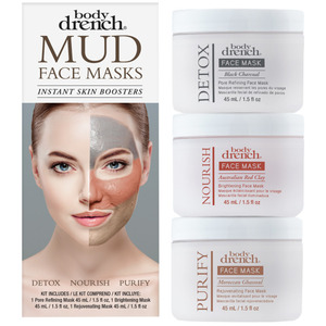 Body Drench - Mud Mask 3 Piece Kit Black Charcoal - Pore Refining Mask 1.5 oz. + Australian Red Clay - Brightening Mask 1.5 oz. + Moroccan Ghassoul - Rejuvenating Mask 1.5 oz. (61233)