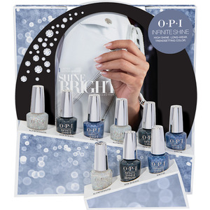 OPI Infinite Shine - Air Dry 10 Day Nail Polish - Shine Bright Collection 9 Piece Glitters Display (HRM55)