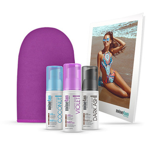 MineTan - Self Tan Foam Minis Pack - Caramel Self Tan Foam Travel Mini (30ml 1 fl oz) + Violet Self Tan Foam Travel Mini (30ml 1 fl oz) + Dark Ash Self Tan Foam Travel Mini (30ml 1 fl oz) + Bronze