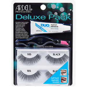 Ardell Deluxe Pack #105 - Black 2 Pair Lashes + Lash Adhesive + Applicator (6746)