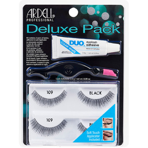 Ardell Deluxe Pack #109 - Black 2 Pair Lashes + Lash Adhesive + Applicator (6747)