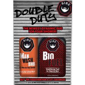 GIBS Double Duty - Man Wash 12 oz. & Biofuel Conditioner 12 oz. Set (9062019)