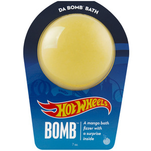 "Da Bomb Bath Bomb Hot Wheels - YELLOW BATH BOMB - A Mango Bath Fizzer with a Fun Suprise Inside! 7 oz. - 2.75"" Diameter (M64132 - 64134)"