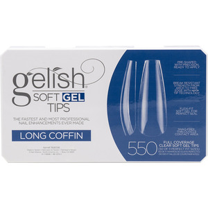 Gelish Soft Gel Tips - LONG COFFIN 550 Full Coverage Clear Soft Gel Tips - 50 Each of 11 Perfect Fit Sizes (M1168096 - 1168096)