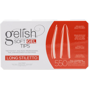 Gelish Soft Gel Tips - LONG STILETTO 550 Full Coverage Clear Soft Gel Tips - 50 Each of 11 Perfect Fit Sizes (M1168096 - 1168097)