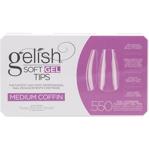 Gelish Soft Gel Tips - MEDIUM COFFIN 550 Full Coverage Clear Soft Gel Tips - 50 Each of 11 Perfect Fit Sizes (M1168096 - 1168098)