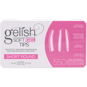 Gelish Soft Gel Tips - SHORT ROUND 550 Full Coverage Clear Soft Gel Tips - 50 Each of 11 Perfect Fit Sizes (M1168096 - 1168103)