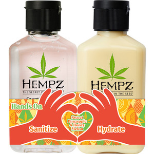 Hempz Hands On Sweet Pineapple & Honey Melon Duo - (1) Sweet Pineapple & Honey Melon Hand Sanitizer (2.25 oz.) + (1) Sweet Pineapple & Honey Melon Moisturizer (2.25 oz.) (55161)