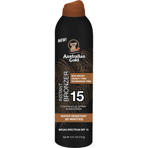 Australian Gold Instant Bronzer Continuous Spray Sunscreen - SPF 15 Instant Bronzer Non-Greasy Cruelty Free Oxybenzone Free Water Resistant 6 fl. oz. - 170 grams (M31628 - 31628)