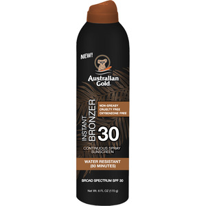 Australian Gold Instant Bronzer Continuous Spray Sunscreen - SPF 30 Instant Bronzer Non-Greasy Cruelty Free Oxybenzone Free Water Resistant 6 fl. oz. - 170 grams (M31628 - 31632)