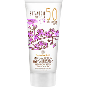 Australian Gold SPF 50 Botanical Sunscreen Kids Mineral Lotion Instant Bronzer Non-Greasy Cruelty Free Oxybenzone Free Water Resistant 6 fl. oz. - 170 grams (31514)