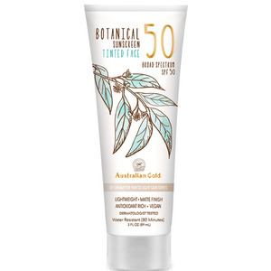 Australian Gold SPF 50 Botanical Sunscreen Tinted - BB Cream for Fair to Light Skin Tones Lightweight Matte Finish Antioxidant Rich Vegan 3 fl. oz. - 89 mL. (M31636 - 31636)