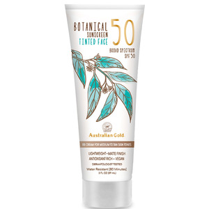 Australian Gold SPF 50 Botanical Sunscreen Tinted - BB Cream for Medium to Tan Skin Tones Lightweight Matte Finish Antioxidant Rich Vegan 3 fl. oz. - 89 mL. (M31636 - 31637)