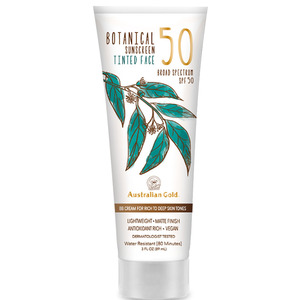 Australian Gold SPF 50 Botanical Sunscreen Tinted - BB Cream for Rich to Deep Skin Tones Lightweight Matte Finish Antioxidant Rich Vegan 3 fl. oz. - 89 mL. (M31636 - 31638)