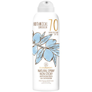 Australian Gold SPF Botanical Continuous Spray Sunscreen - 70 SPF Sunscreen Natural Spray Non-Sticky Antioxidant Rich UVA-UVB Broad Spectrum Protection 6 fl. oz. - 177 mL. (M31470 - 31557)