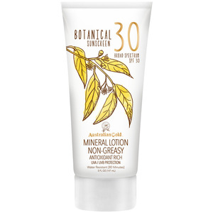 Australian Gold SPF Botanical Sunscreen Mineral Lotion - 30 SPF Mineral Lotion Non-Greasy Antioxidant Rich UVA-UVB Broad Spectrum Protection 5 fl. oz. - 147 mL. (M31471 - 31469)