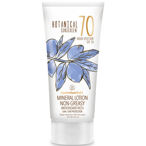 Australian Gold SPF Botanical Sunscreen Mineral Lotion - 70 SPF Mineral Lotion Non-Greasy Antioxidant Rich UVA-UVB Broad Spectrum Protection 5 fl. oz. - 147 mL. (M31471 - 31556)