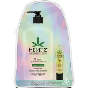 Hempz Original Herbal Body Moisturizer Gift Set (1) Hempz Original Herbal Body Moisturizer (17 oz.) + (1) Hempz Ultra Moisturizing Herbal Lip Balm (0.44 oz.) + (1) Hempz Iridescent Tote Bag (55139)