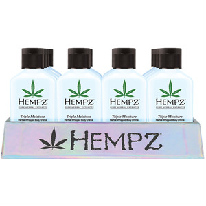 Hempz Mini Triple Moisture Basket Display (24) Hempz Mini Triple Moisture Whipped Body Creme (2.25 oz.) + (1) Merchandising Basket (55146)