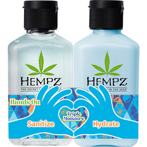 Hempz Hands On Triple Moisture Duo (1) Triple Moisture Hand Sanitizer (2.25 oz.) + (1) Triple Moisture Whipped Body Creme (2.25 oz.) (55162)