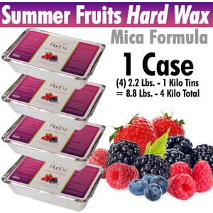 Harley Waxing UK - Summer Fruits Hard Wax Mica Formula 1 Case = (4) 2.2 Lbs. - 1 Kilo Tins = 8.8 Lbs. - 4 Kilo Total (SumF-Hard X 4)