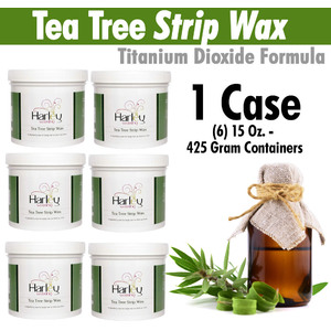 Harley Waxing UK - Tea Tree Strip Wax Titanium Dioxide Formula 1 Case = (6) 15 Oz. - 425 Gram Containers (TeaTree-Soft X 6)